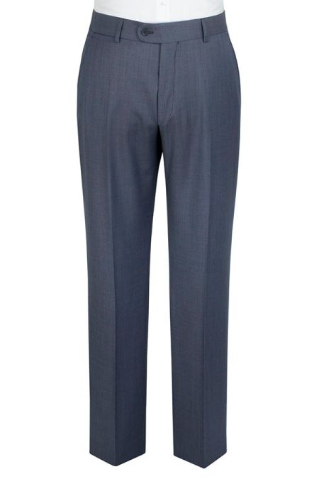 Slightly Tailored Fit Blue Sharkskin Suit Trousers