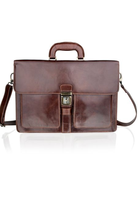 Soft Leather Satchel Briefcase with Front Pockets