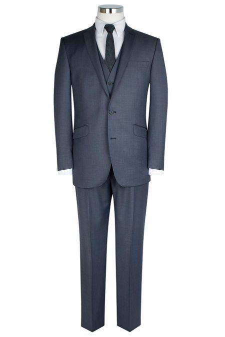 Tailored Fit Blue Sharkskin Suit Trousers