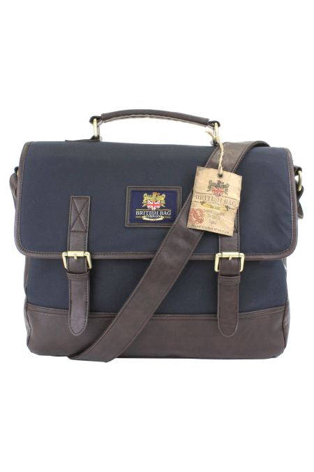 Waxed Cotton Navy Briefcase Bag