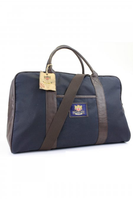 Waxed Cotton Navy Holdall Bag