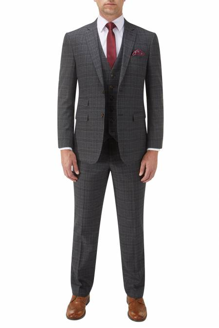 Wentwood Suit in Navy Check Wool Blend - business suits