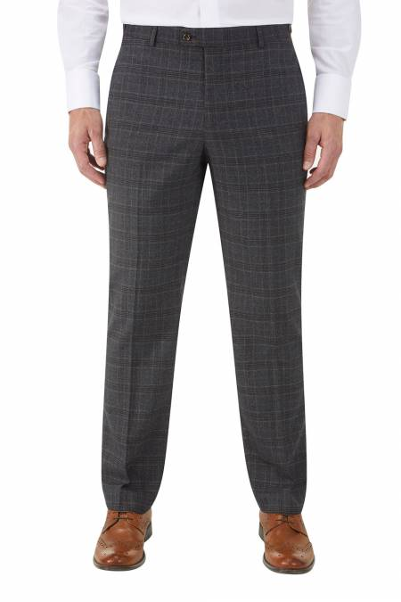 Wentwood Suit Trousers in Navy Check Wool Blend