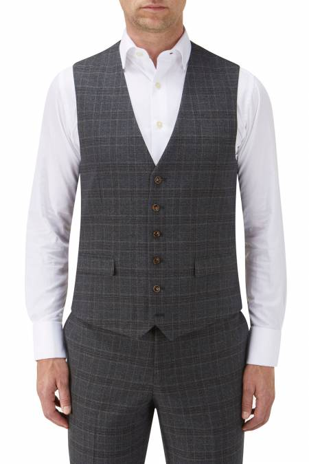 Wentwood Suit Waistcoat in Navy Check Wool