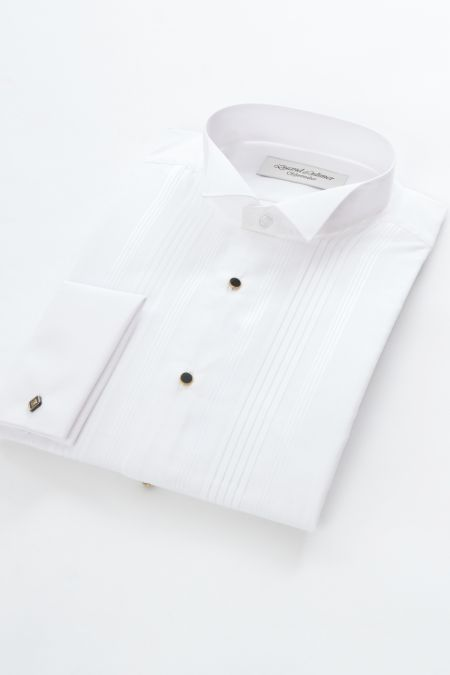 Wing Collar Pleated front Dress shirt