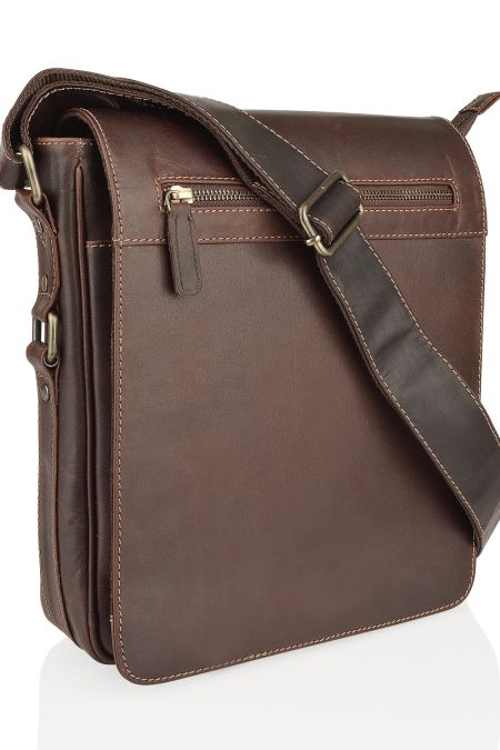 Woodland Leather Portrait Messenger Bag