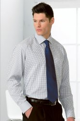 Disley Business Check Cutaway Collar Long Sleeve Shirts