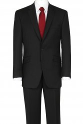 The Label Plain Black Herringbone Suit